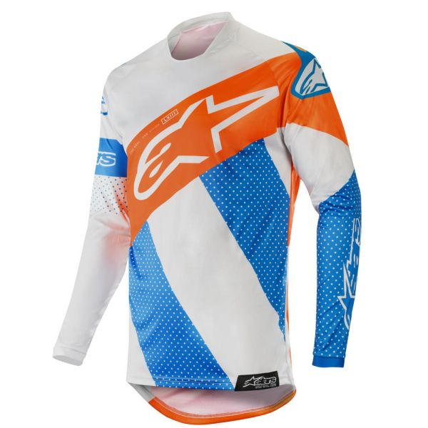 Tricouri MX-Enduro Alpinestars Tricou Racer Tech Atomic Gray/Blue/Orange S9