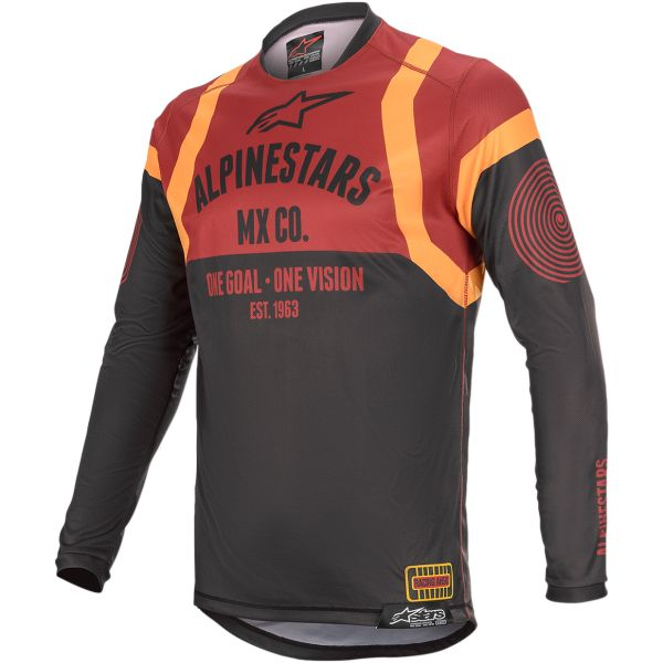 Tricouri MX-Enduro Alpinestars Tricou Racer Tech Flagship S20 Black/Brown/Orange