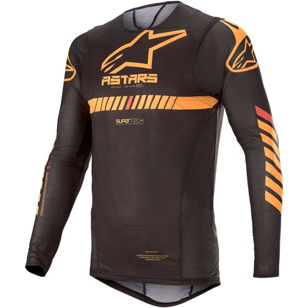Tricouri MX-Enduro Alpinestars Tricou Supertech S20 Black/Orange