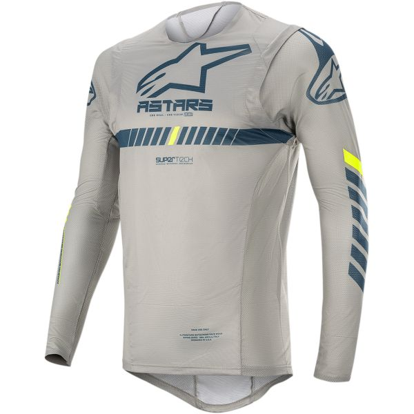 Tricouri MX-Enduro Alpinestars Tricou Supertech S20 Gray/Navy/Yellow