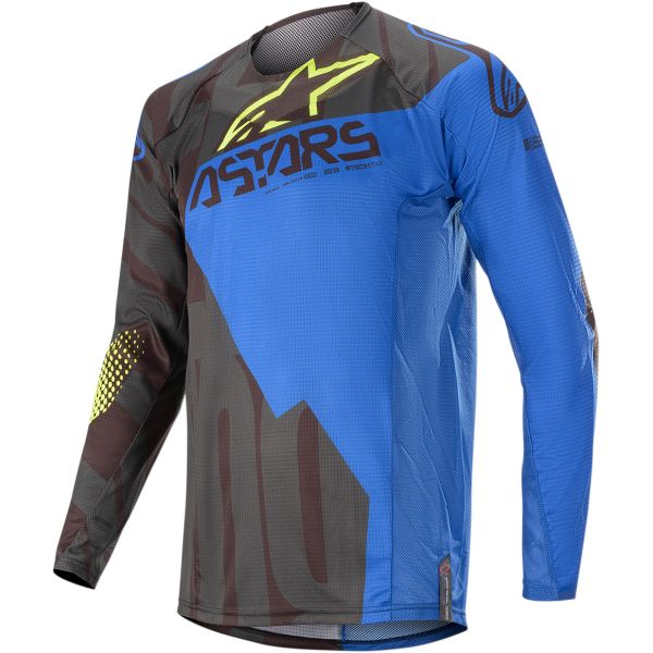 Tricouri MX-Enduro Alpinestars Tricou Techstar Factory S20 Black/Blue/Yellow