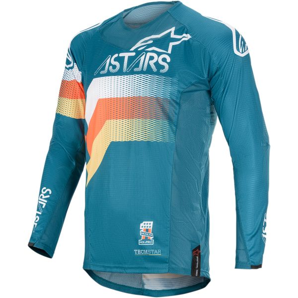 Tricouri MX-Enduro Alpinestars Tricou Techstar Venom S20 Navy/Aqua/Orange