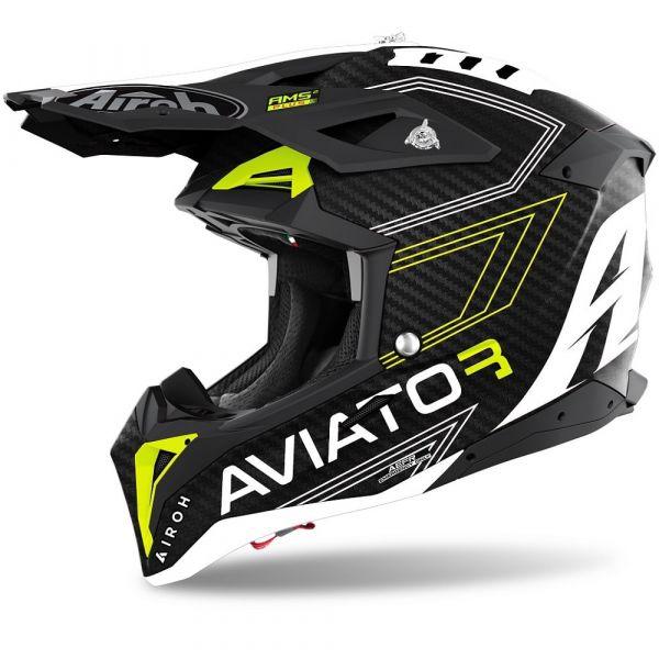 Casti MX-Enduro Airoh Casca Moto MX AVIATOR 3 PRIMAL YELLOW MATT 2021