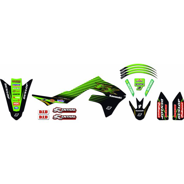 Grafice Moto Blackbird Kit Grafica Replica 2420r11 Kawsaki KX 12-15'