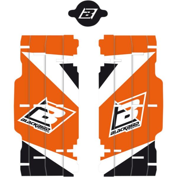 Graphics Blackbird DREAM 3 RADIATOR LOUVER STICKERS Black/Orange KTM EXC 300 2017-2020