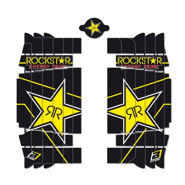 Graphics Blackbird ROCKSTAR ENERGY RADIATOR LOUVER STICKERS Black/Yellow KTM EXC 300 2017-2020