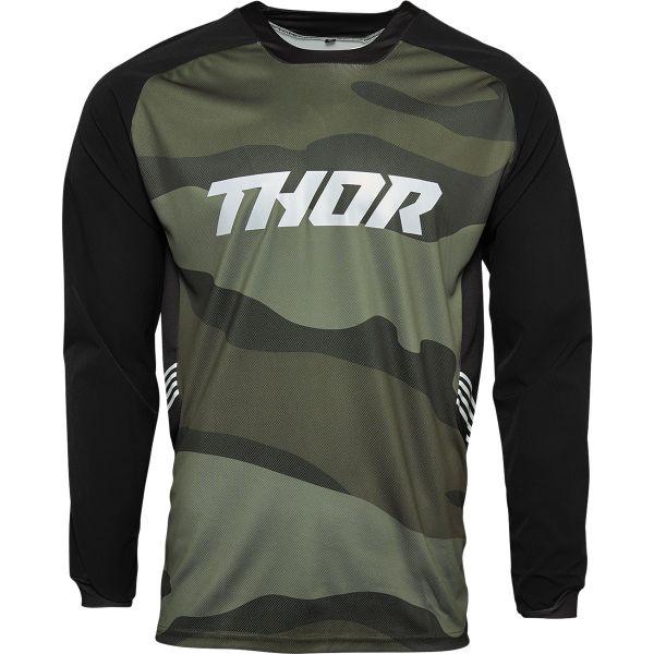 Tricouri MX-Enduro Thor Tricou MX Terrain Green Camo 2021