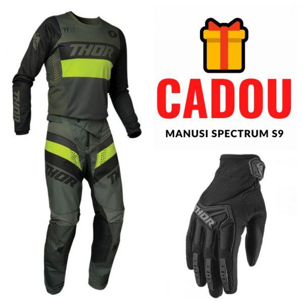 Combo MX Enduro Thor Combo Pantaloni + Tricou Pulse Racer Negru Verde Army 2021