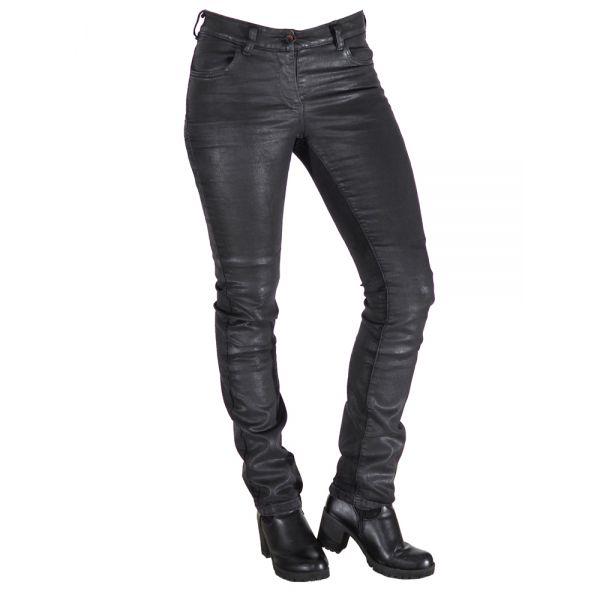 Pantaloni Moto Piele City Nomad Jeans Dama Aspect Cerat Karen Wax