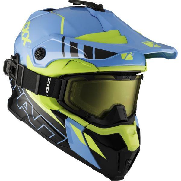 Casti Snowmobil CKX Casca Snow Titan Ori DL Avalanche Ochelari Inclusi Verde-Albastru
