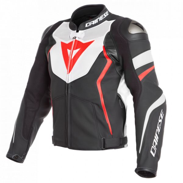 Echipamente DAINESE Dainese Geaca Piele Avro 4 Perforated Leather Jacket  Black-Matt/White/Fluo-Red 2020