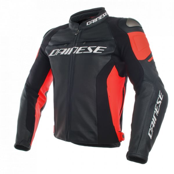Echipamente DAINESE Dainese Geaca Piele Racing 3 Perforated Black/Black/Fluo-Red 2020