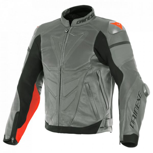 Echipamente DAINESE Dainese Geaca Piele Super Race Perforated Charcoal-Gray/Ch.-Gray/Fluo-Red 2020
