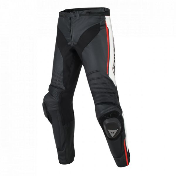 Echipamente DAINESE Dainese Pantaloni Piele Misano Perf. Black/White/Red-Fluo 2020