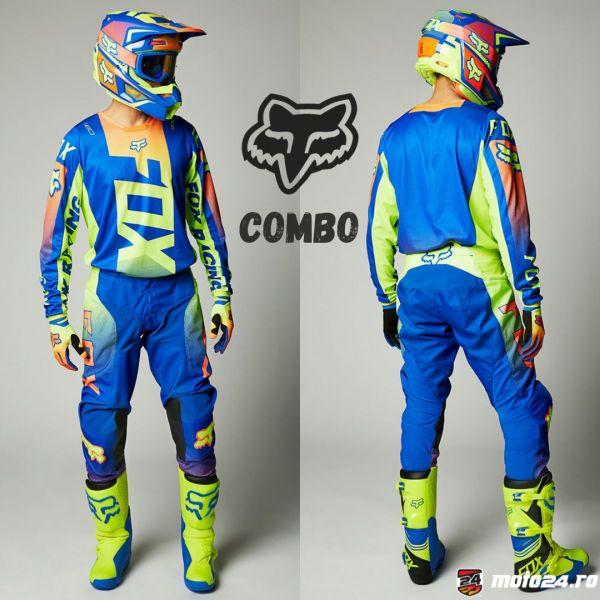Combo MX Enduro Fox Combo Pantaloni + Tricou 180 Oktiv Blue 2021