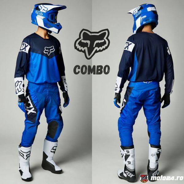 Combo MX Enduro Fox Combo Pantaloni + Tricou 180 Revn Blue 2021