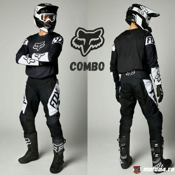 Combo MX Enduro Fox Combo Pantaloni + Tricou 180 Revn Black/White 2021
