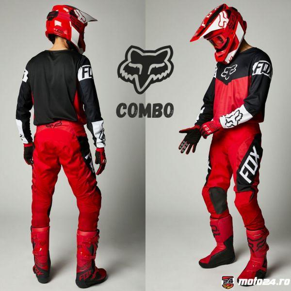 Combo MX Enduro Fox Combo Pantaloni + Tricou 180 Revn Flame Red 2021