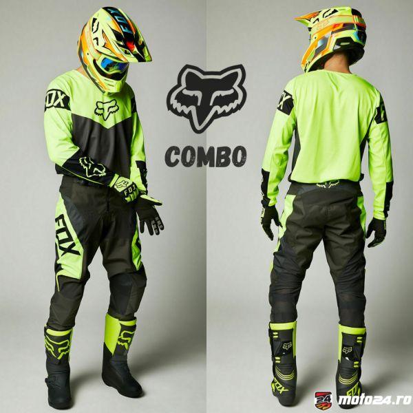 Combo MX Enduro Fox Combo Pantaloni + Tricou 180 Revn Black/Yellow 2021