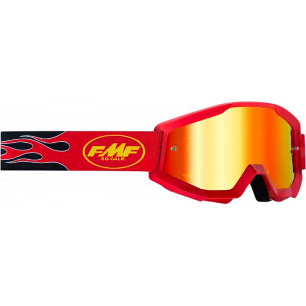 Ochelari MX-Enduro FMF Vision Ochelari Moto Flame Red Lentila Oglinda Rosie F-50400-251-03