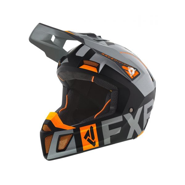FXR Casca MX Clutch Evo Black/Lt Grey/Org 2020