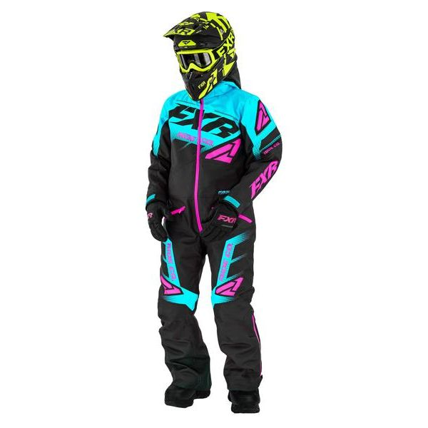 Combinezon Monosuit SNOW Copii FXR Combinezon Copii Insulated Boost Black/Sky Blue/Elec Pink 2021