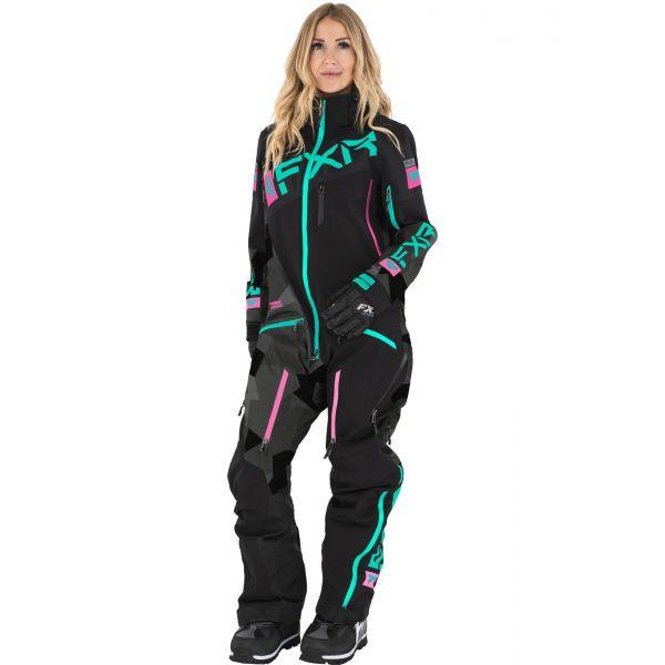 FXR Combinezon Dama Insulated Ranger Instinct Blk/Char Camo/Mint/E Pink 2021