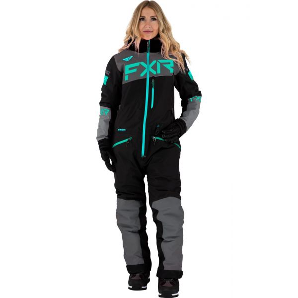 Combinezon Monosuit SNOW Dama FXR Combinezon Dama Insulated Squadron Black/Char/Mint/Sky Blue 2021