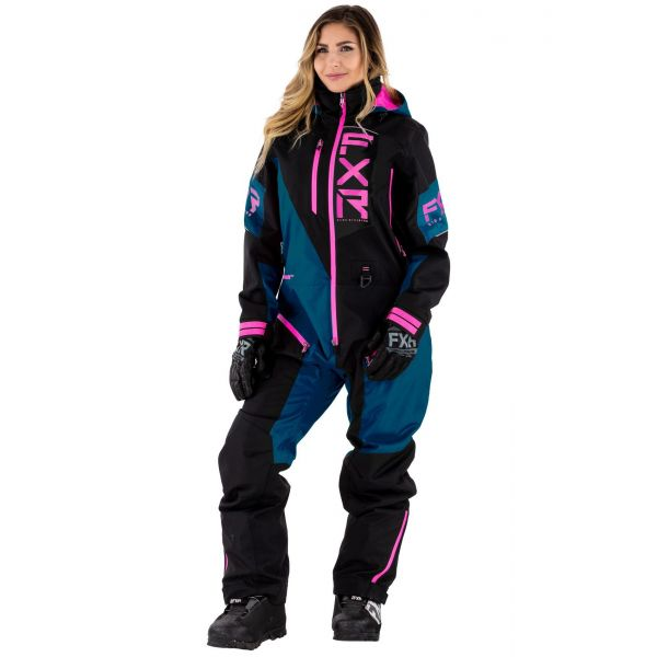 Combinezon Monosuit SNOW Dama FXR Combinezon Dama W Recruit Non-Insulated Lite Black/Ocean/Elec Pink 2021