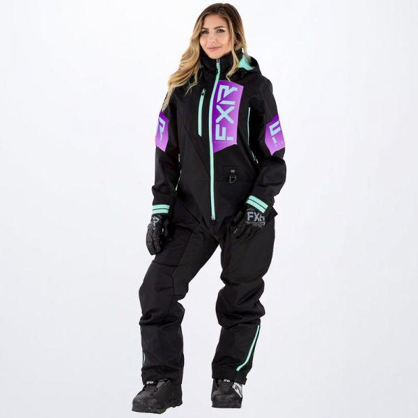 Combinezon Monosuit SNOW Dama FXR Combinezon Snow Dama Recruit Insulated Black/Purple Fade/Seafoam 2022