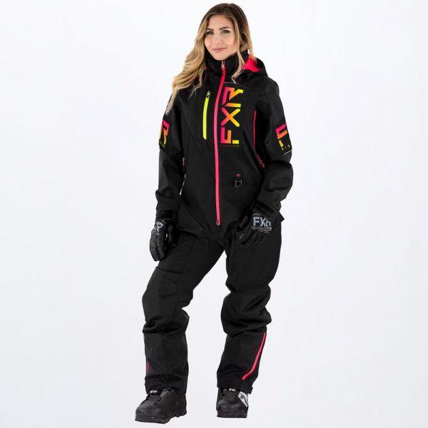 Combinezon Monosuit SNOW Dama FXR Combinezon Snow Dama Recruit Insulated Black/Rasp-Hi Vis Fade 2022