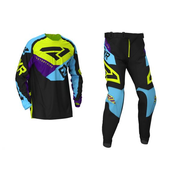 Combo MX Enduro FXR Combo MX Podium Black/Sky Blue/Purple/Hi-Vis 2020
