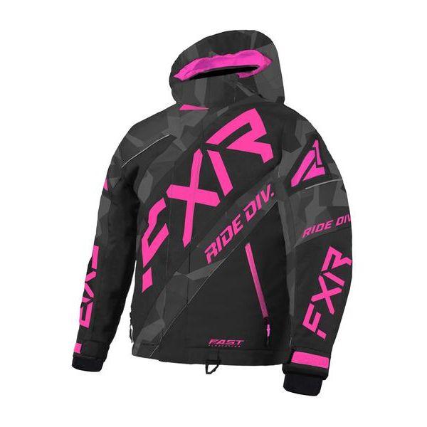 Geci Snowmobil - Copii FXR Geaca Snow Copii Insulated CX Char Camo/Black/Elec Pink 2021