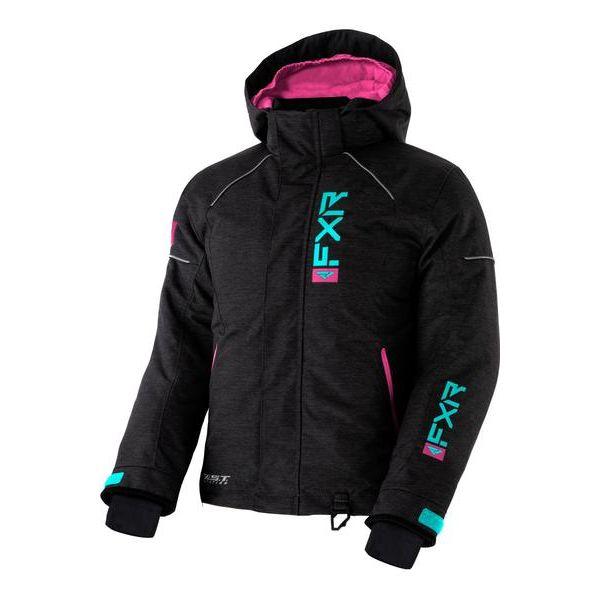 Geci Snowmobil - Copii FXR Geaca Snow Copii Insulated Fresh Char Heather/Sky Blue/ Elec Pink 2021