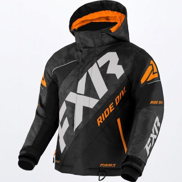 Geci Snowmobil - Copii FXR Geaca Snow Copii Mari CX Black Camo/Grey/Orange 2022