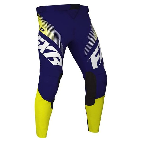 Pantaloni MX-Enduro Copii FXR Pantaloni MX Copii Clutch White/Navy/Yellow 2021