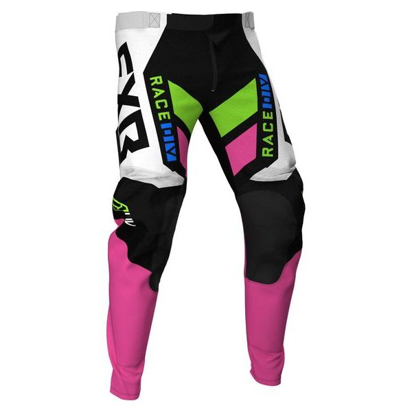 Pantaloni MX-Enduro Copii FXR Pantaloni MX Copii Podium Black/White/E Pink/Lime/Blue 2021
