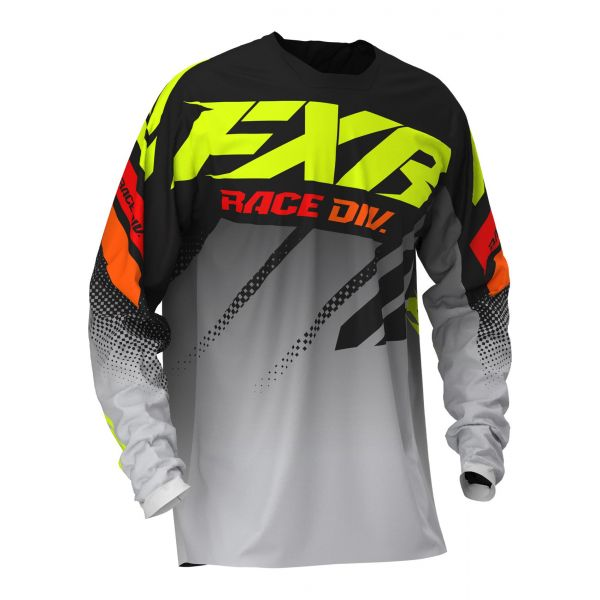 Tricouri MX-Enduro FXR Tricou Clutch MX Black/Grey Fade/Hi Vis/Red 2020