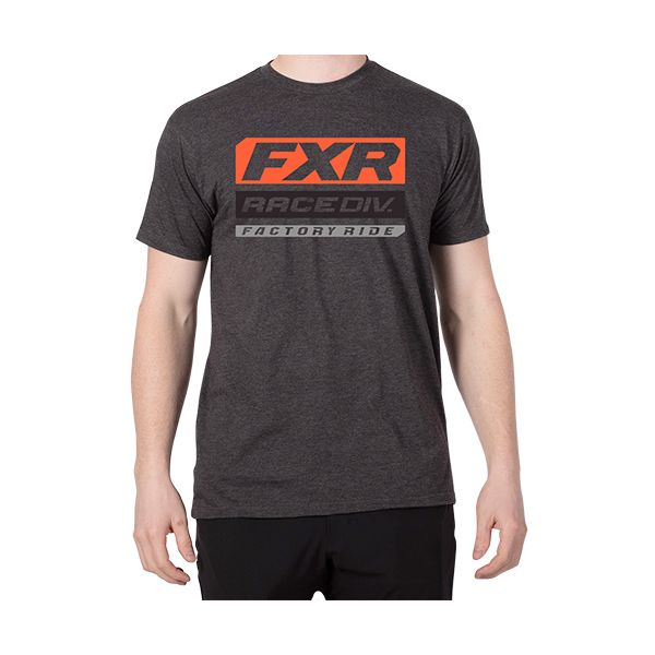 Tricouri/Camasi Casual FXR Tricou Race Division 2020 Charcoal Heather/Lava