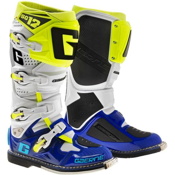 Cizme MX-Enduro Gaerne Cizme SG12 White/Blue/Yellow