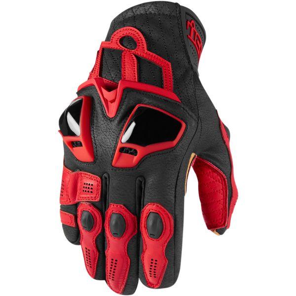 Manusi Moto Sport si Piele Icon Manusi Moto Piele Hypersport Black 2021 Short Red 2021