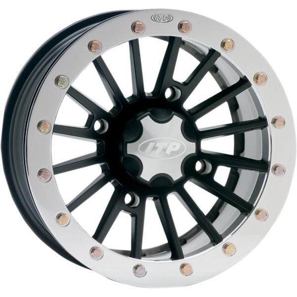 Jante ATV/UTV ITP JANTA SEVERE DUTY DUAL BEADLOCK ALUMINUM 14x7 BOLT PATTERN 4/156 OFFSET 5+2  MATTE BLACK/POLISHED RING