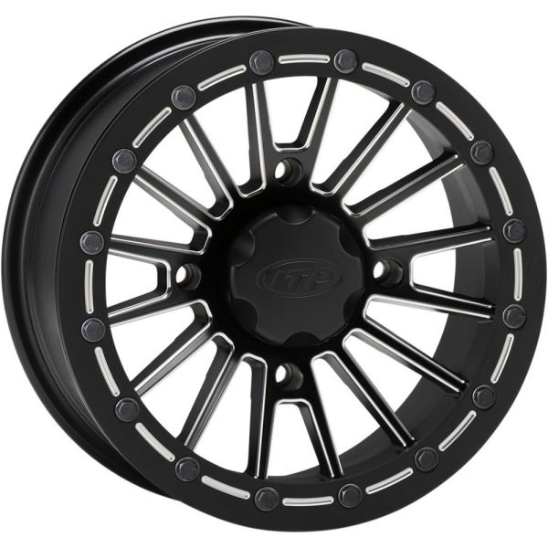 Jante ATV/UTV ITP JANTA SEVERE DUTY SINGLE BEADLOCK 14X7 BOLT PATTERN 4/110 OFFSET 5+2 BLACK/MILLED EDGES