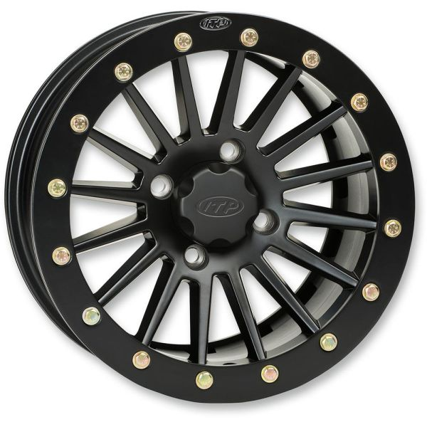 Jante ATV/UTV ITP JANTA SEVERE DUTY SINGLE BEADLOCK REAR 12x7 BOLT PATTERN 4/137 OFFSET 4+3 MATTE BLACK/ BLACK RING