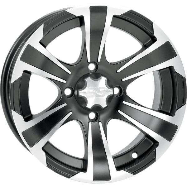 Jante ATV/UTV ITP JANTA SS ALLOY SS312 MATTE BLACK WITH MACHINED FINISH 14x8 BOLT PATTERN 4/110 OFFSET 5+4