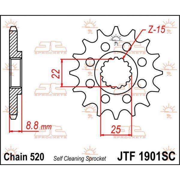 JT Sprockets JTF1901.15SC PINION FATA CU AUTOCURATARE 15 DINTI KTM/HUSQVARNA