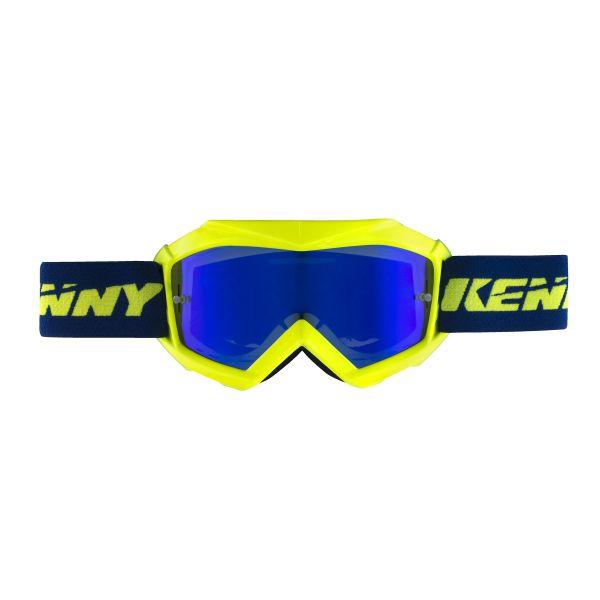Ochelari MX-Enduro Copii Kenny Ochelari Copii Track Yellow Fluo Lentila Oglinda Albastru