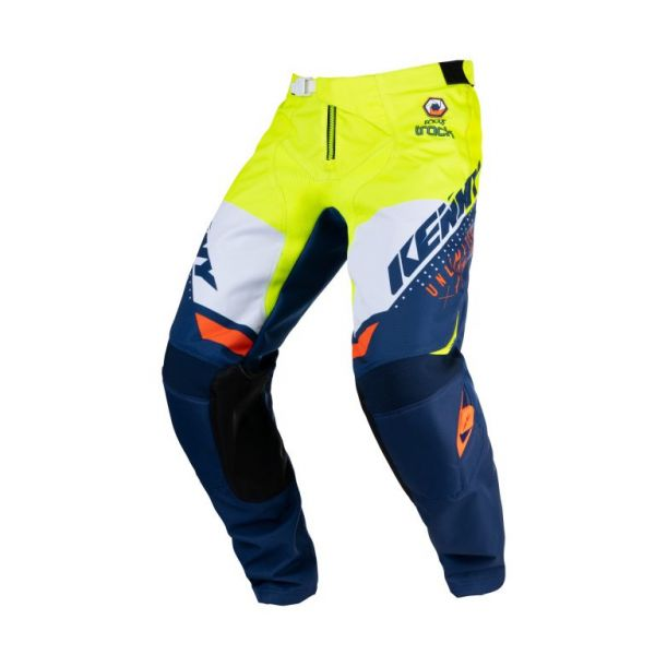 Pantaloni MX-Enduro Copii Kenny Pantaloni Moto MX Track Focus Kid Navy Neon Yellow 2021