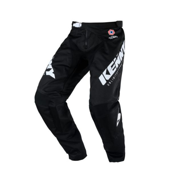 Pantaloni MX-Enduro Copii Kenny Pantaloni Moto MX Track Raw Kid Black White 2020