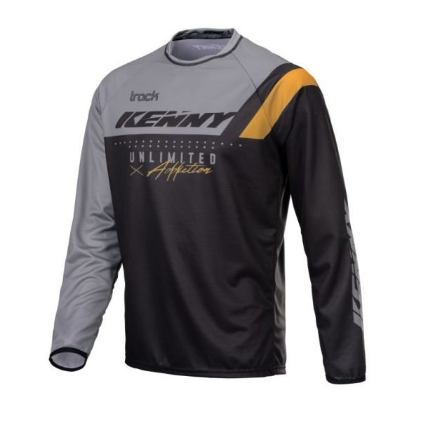Tricouri MX-Enduro Kenny Tricou Moto MX Track Focus Black Grey Gold 2021